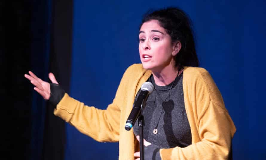 Silver tongue: Sarah performing standup.