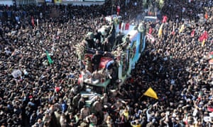 Iranians carry the coffin of Qasem Soleimani, after he was killed by a US drone strike