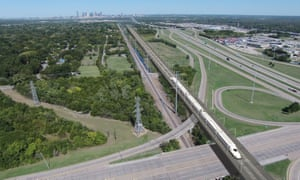 Artists impression of a proposed rail link from Houston to Dallas