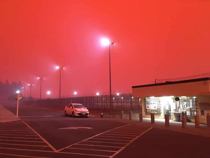 Oregon state correctional institution, one of the evacuated prisons, under smoky sky
