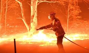 A firefighter near the NSW town of Nowra in 2019.