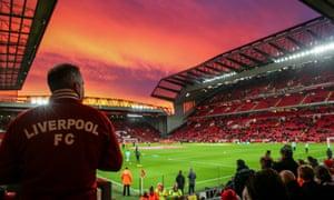 Sunset over Anfield stadium