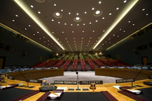 The security council chamber seen from behind the chair of the council president, currently Russia.