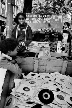 A vinyl stall at Notting Hill carnival, 1989.