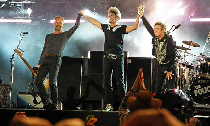 Reunion … Sting, Stewart Copeland and Andy Summers of the Police perform in Hyde Park, London, in 2008.
