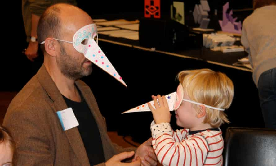 Bird Masks with Marion Deuchars at the Guardian cartoon and art family day