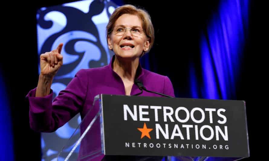 Elizabeth Warren speaks at the Netroots Nation annual conference for political progressives in New Orleans.