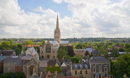 A view of Norwich Cathedral from St George's church tower.