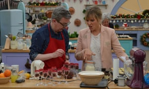 Howard, with Mel Giedroyc, taking part in festive special The Great Christmas Bake Off in 2016.