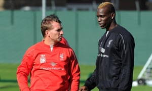 Former Liverpool manager Brendan Rodgers and Mario Balotelli