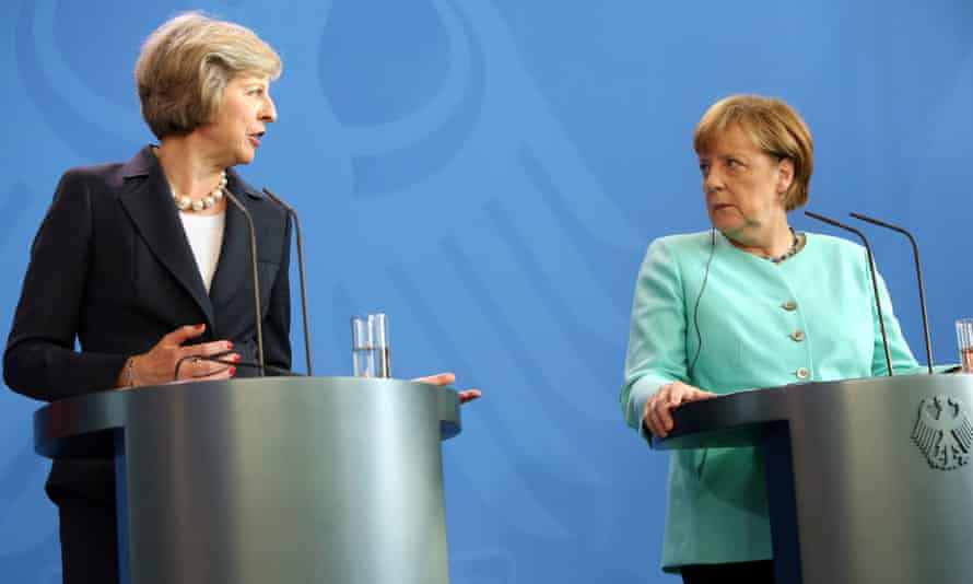 May and Merkel give a joint press conference in Berlin.
