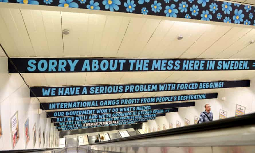 Sweden Democrats posters on a subway in Stockholm