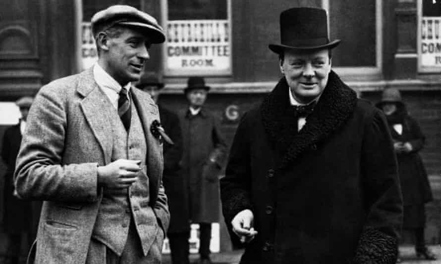 Winston Churchill with Lord Wodehouse (l) in Leicester during the 1923 general election campaign.