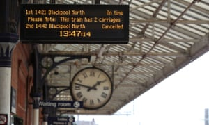 The departure board at Poulton-le-Fylde train station in June after Northern launched an eight-week interim timetable, removing 165 of its regular trains