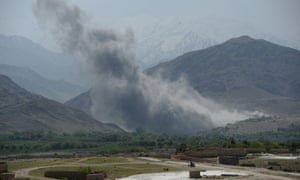 Smoke rises after an airstrike by US aircraft in the Achin district of Nangarhar province, Afghanistan