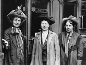 Schism … Emmeline Pankhurst in 1911, with daughters Christabel and Sylvia, right.