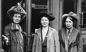 Emmeline Pankhurst, left, with her daughters Christabel, centre, and Sylvia in 1911.