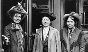 Sylvia Pankhurst (right), with her mother Emmeline (left) and sister Christabel (centre) at Waterloo Station, London in 1911