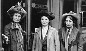 Emmeline, Christabel and Sylvia Pankhurst at Waterloo Station, London in 1911.