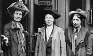Emmeline Pankhurst (left) and her daughters Christabel (centre) and Sylvia in 1911.