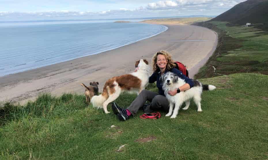 Kate Humble with her dogs.