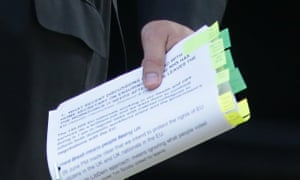 Papers held by Jeremy Hunt as he arrives for a cabinet meeting at No 10.