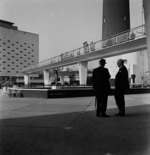 One of the festival site's distinctive elevated walkways leads towards the Royal Festival Hall.(GNM Archive ref: JHB/1/3/43 box 3)