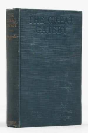 """First edition Scott Fitzgerald Great Gatsby Cover. A first edition, first printing, copy of The Great Gatsby by F. Scott Fitzgerald (1925) which is superbly inscribed by the author """"For Harold Goldman, The original 'Gatsby' of this story, with thanks for letting me reveal these secrets of his past……"""" Harold Goldman was a screenwriter at MGM who worked with Fitzgerald. Inscribed copies of this novel are notably rare (£275,000);"""
