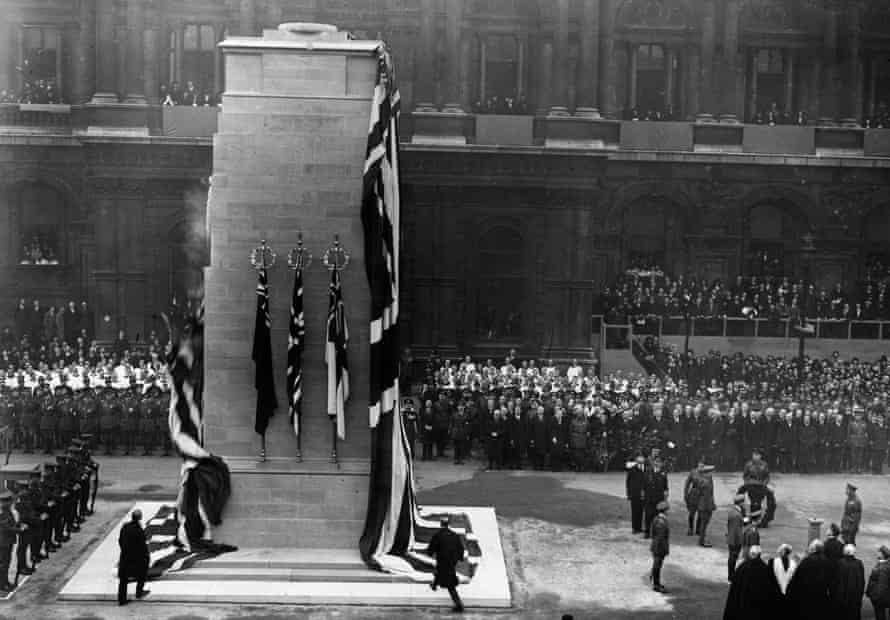 King George V at the unveiling of the Tomb of the Unknown Warrior at the Cenotaph in Whitehall, London, 11 November 1920.