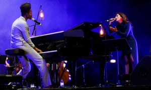 British artist Benjamin Clementine performs with guest fado singer Ana Moura at the Super Bock Super Rock Festival in Lisbon last month