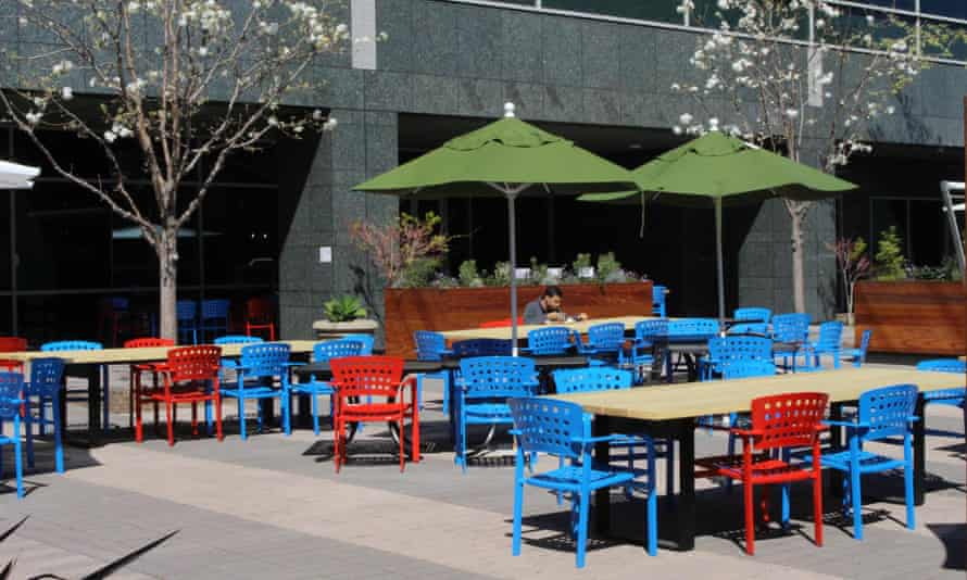 A lone 'Googler' eats lunch at the internet company's main campus in Mountain View, California.