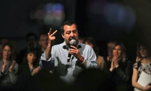 Matteo Salvini talks on the podium during his party The League's rally, in Treviso, northeastern Italy