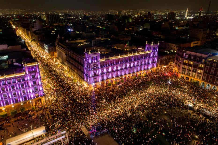 Amlo supporters stream into Zócalo, the main square in Mexico City.