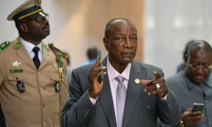 President Alpha Condé arrives at the African Union headquarters in Addis Ababa, Ethiopia