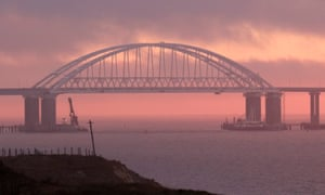 The bridge connecting the Russian mainland with the Crimean peninsula at the Kerch strait