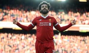 Mohamed Salah celebrates scoring Liverpool's side's second goal against West Ham.