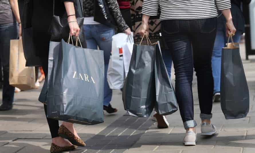 Shoppers carrying shopping bags
