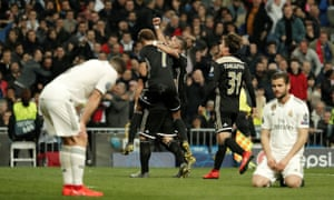 Ajax celebrate a Dusan Tadic goal in their win at Real Madrid in March. The Amsterdam side's run to the Champions League semi-finals will only count towards the Dutch coefficient from next season