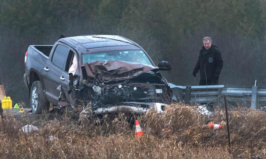 The scene of a crash in Kawartha Lakes. After police attempted to stop the father's pickup truck, it collided with a police car and another vehicle.