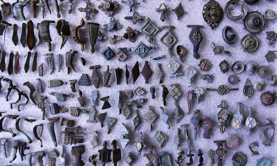 Some of the thousands of objects found when French officials raided Patrice T's house.
