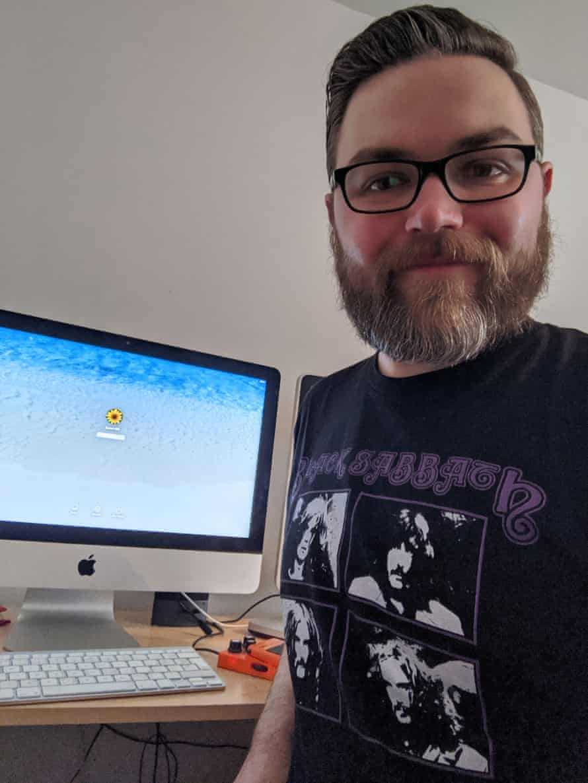 Colin in a Black Sabbath T-shirt