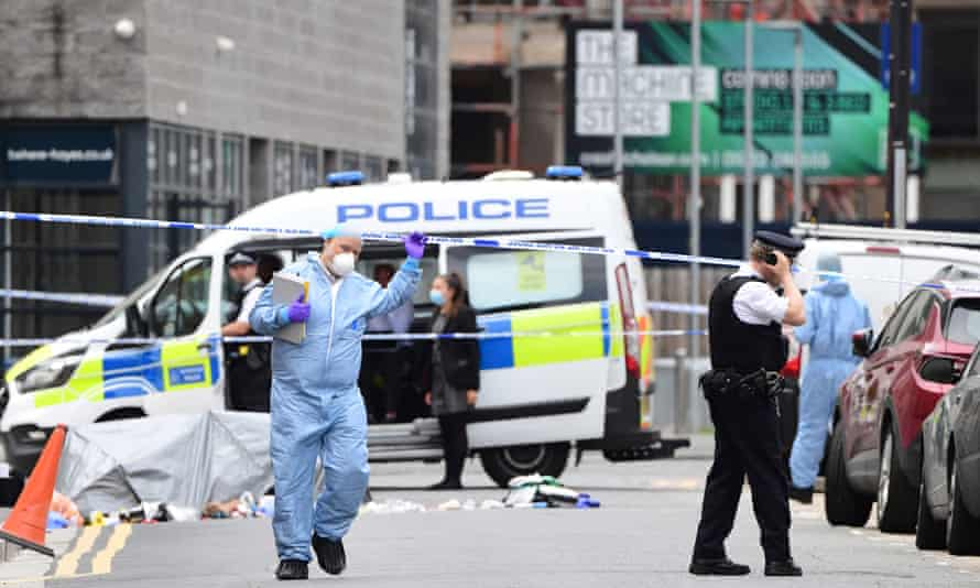 Police forensic officers attend the scene on Blyth Road in Hayes, west London.