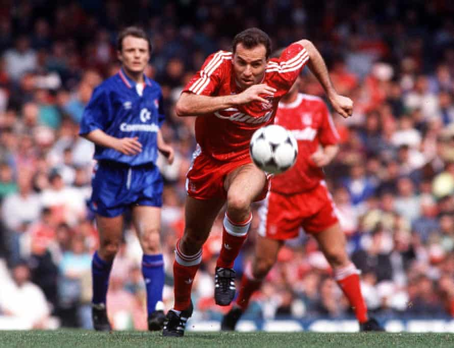 Ronny Rosenthal in action against Chelsea at Anfield in April 1990. Rosenthal scored the first goal in a 4-1 win for Liverpool.