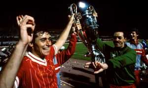 Michael Robinson parades the European Cup trophy with Bruce Grobbelaar after the 1984 final.