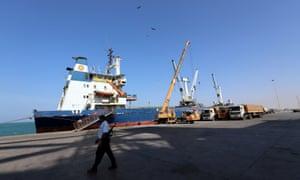 The port of Hodeidah, Yemen.