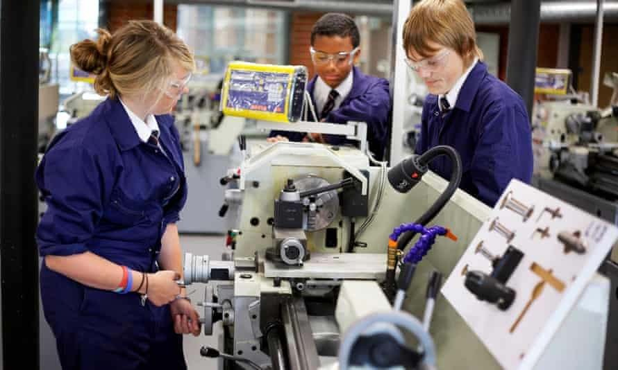 Pupils at a university technical college in Uttoxeter.
