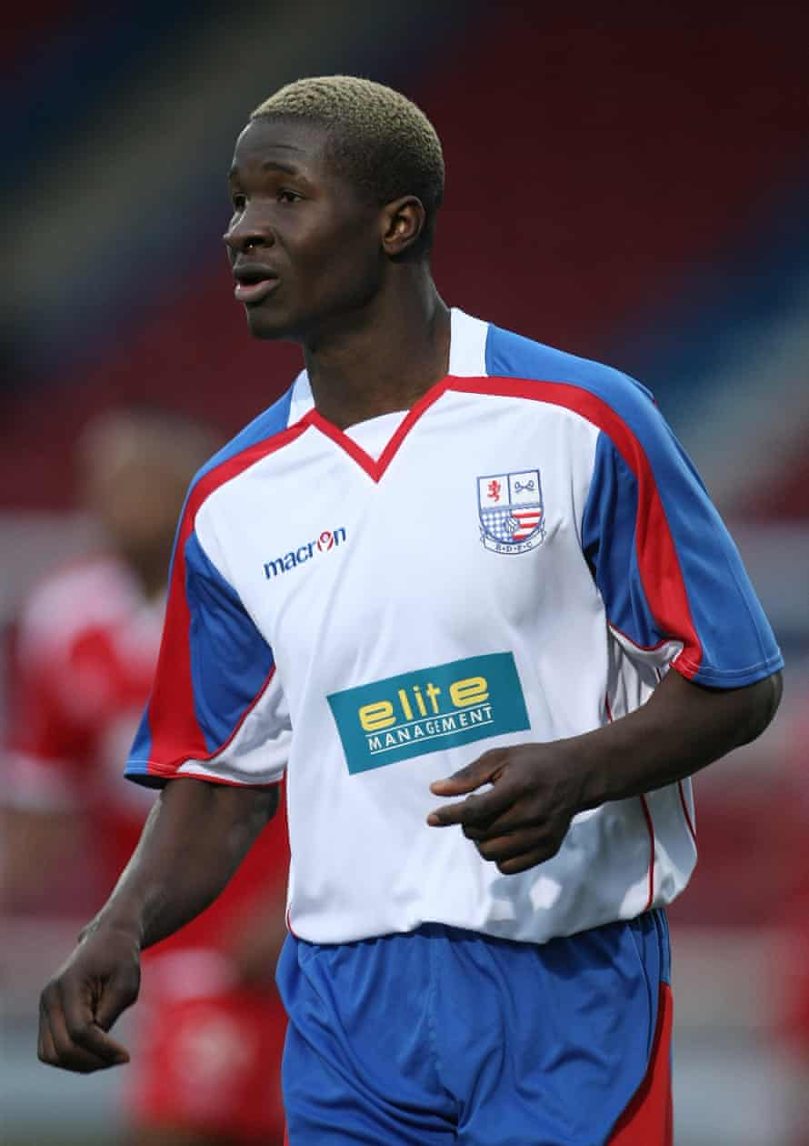Eddie Oshodi, in action here for Rushden & Diamonds in in 2011, was in Watford's academy. 'As a youngster you are fed a dream, you know very little else,' he says.