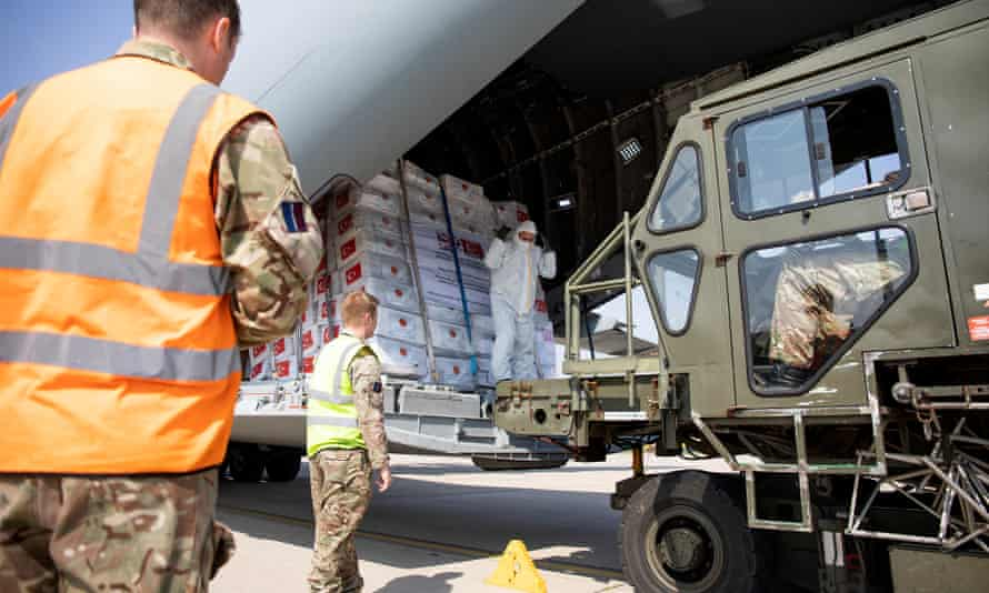 Medical supplies and PPE are unloaded at RAF Brize Norton. The planning document warned the country should have stockpiles of 'countermeasures' to cover a potential virus outbreak.