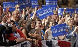 Supporters cheer as Sanders speaks during a campaign rally.