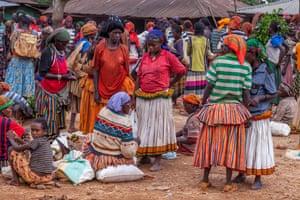 Women at Fasha market in Ethiopia's Konso region.